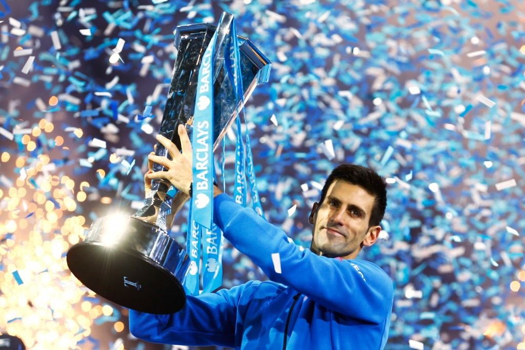 LONDON, ENGLAND - NOVEMBER 22:  Novak Djokovic of Serbia lifts the trophy following his victory during the men's singles final against Roger Federer of Switzerland on day eight of the Barclays ATP World Tour Finals at the O2 Arena on November 22, 2015 in London, England.  (Photo by Julian Finney/Getty Images)