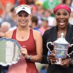 Serena Williams (R) of the US and Caroline Wozniacki of Denmark hold their awards their US Open 2014 women's singles finals match at the USTA Billie Jean King National Center September 7, 2014  in New York. AFP PHOTO/Stan HondaSTAN HONDA/AFP/Getty Images ORG XMIT: 507846285 ORIG FILE ID: 533138143