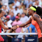 NEW YORK, NY - SEPTEMBER 11:  Roberta Vinci of Italy shakes hands with Serena Williams of the United States after defeating her in their Women's Singles Semifinals match on Day Twelve of the 2015 US Open at the USTA Billie Jean King National Tennis Center on September 11, 2015 in the Flushing neighborhood of the Queens borough of New York City. Vinci defeated Williams 2-6, 6-4, 6-4.  (Photo by Matthew Stockman/Getty Images)