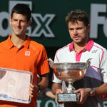 PARIS, FRANCE - JUNE 7: Stanislas Wawrinka of Switzerland (right) poses with the Coupe de Mousquetaires and runner up Novak Djokovic of Serbia  after the men's final on day 15 of the French Open 2015 at Roland Garros stadium on June 1, 2015 in Paris, France. (Photo by Jean Catuffe/Getty Images)