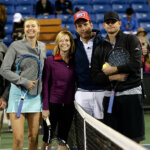 LOS ANGELES, CA - DECEMBER 12:  Maria Sharapova, Chelsea Handler, Will Arnett and Andy Roddick attend the Maria Sharapova and Friends tennis exhibition at UCLA on December 12, 2015 in Los Angeles, California.  (Photo by Kevork Djansezian/Getty Images for TAG Heuer)