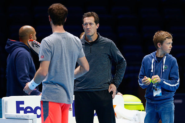 LONDON, ENGLAND - NOVEMBER 13:  Coach Jonas Bjorkman talks with Andy Murray of Great Britain during the Barclays ATP World Tour Finals previews at O2 Arena on November 13, 2015 in London, England.  (Photo by Julian Finney/Getty Images)