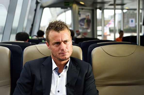 LONDON, ENGLAND - NOVEMBER 18: Lleyton Hewitt of Australia, who will retire after the 2016 Australian Open, being interviewd while traveling by boat on the Thames to the O2 Arena where he was honoured by being presented with a special frame by Chris Kermode, the ATP Executive Chairman & President in an on-court ceremony that included fellow former World No. 1s John McEnroe, Mats Wilander and Boris Becker at the Barclays ATP World Tour Finals at O2 Arena on November 18, 2015 in London, England.  (Photo by Peter Staples/ATP World Tour/ATP via Getty Images).