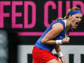 PRAGUE, CZECH REPUBLIC - NOVEMBER 15:  Petra Kvitova of Czech Republic in reacts against Maria Sharapova of Russia during day two of the Fed Cup final match between Czech Republic and Russia at O2 Arena on November 15, 2015 in Prague, Czech Republic.  (Photo by Matej Divizna/Getty Images)