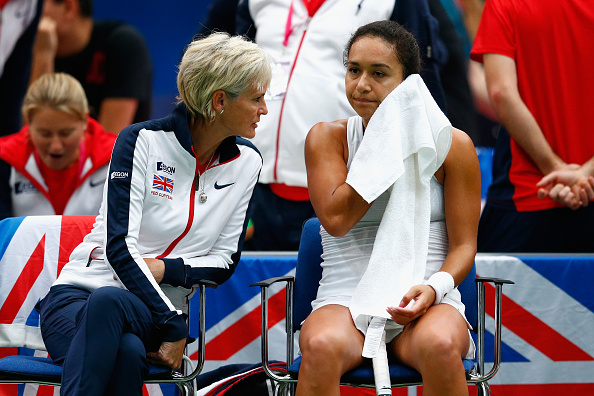 BUDAPEST, HUNGARY - FEBRUARY 07:  Captain Judy Murray talks with Heather Watson of Great Britain in her match against Victoria Azarenka of Belarus during day four of the Fed Cup/Africa Group One tennis at Syma Event and Congress Centre on February 7, 2015 in Budapest, Hungary.  (Photo by Julian Finney/Getty Images for LTA)