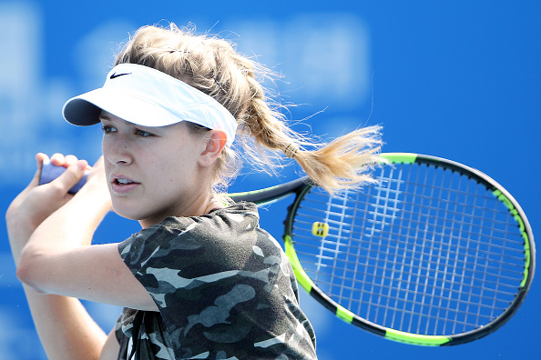 SHENZHEN, CHINA - JANUARY 01: Eugenie Bouchard of Canada during the practice at Longgang Sports Center on January 1, 2016 in Shenzhen, China. (Photo by Zhong Zhi/Getty Images)