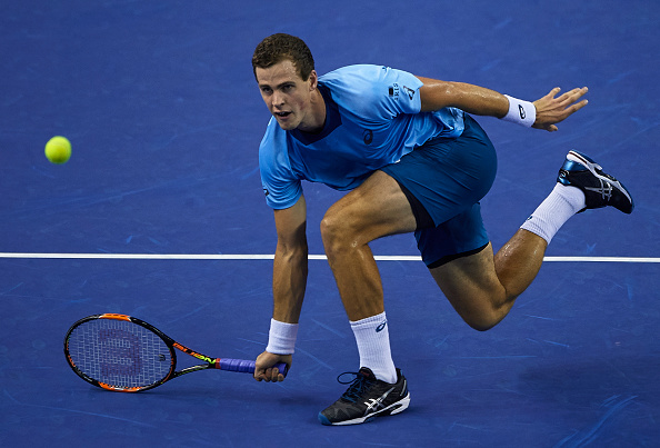 VALENCIA, SPAIN - OCTOBER 31:  Joao Vasek Pospisil of Canada in action against Joao Souza of Portugal during day six of the ATP World Tour Valencia Open tennis tournament at the Ciudad de las Artes y las Ciencias on October 31, 2015 in Valencia, Spain.  (Photo by Manuel Queimadelos Alonso/Getty Images)