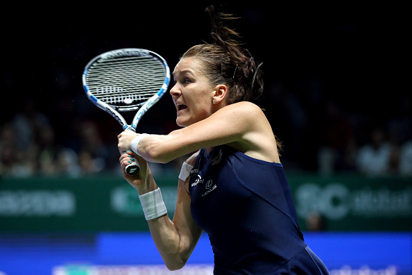 SINGAPORE - NOVEMBER 01:  Agnieszka Radwanska of Poland in action during the final match against Petra Kvitova of Czech Republic during the BNP Paribas WTA Finals at Singapore Sports Hub on November 1, 2015 in Singapore.  (Photo by Matthew Stockman/Getty Images for WTA)