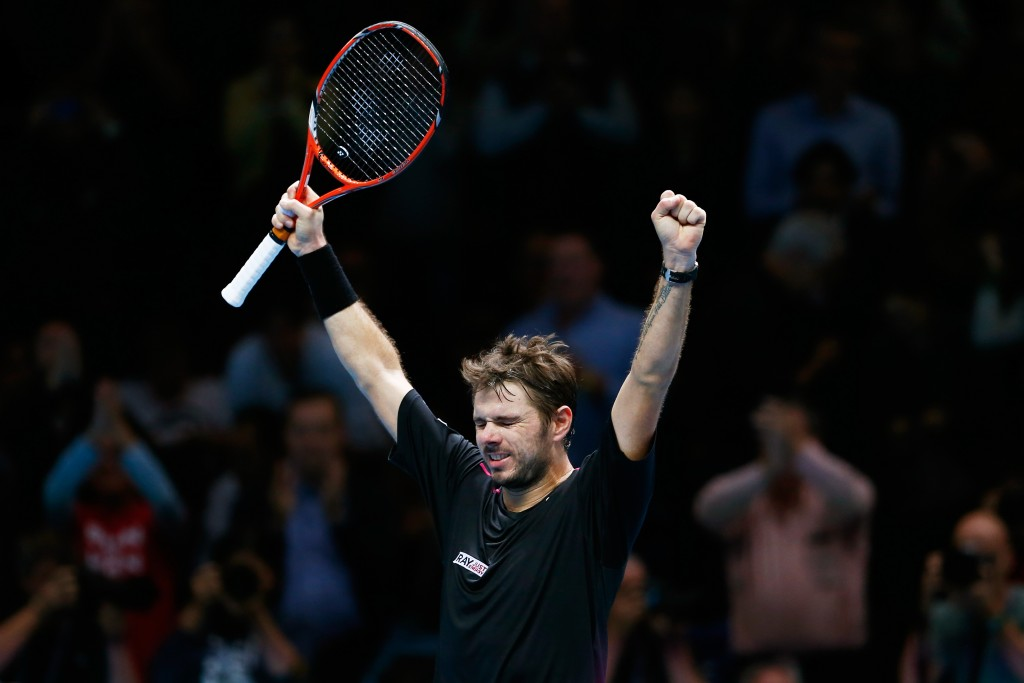 LONDON, ENGLAND - NOVEMBER 20:  Stan Wawrinka of Switzerland celebrates his victory during the men's singles match against Andy Murray of Great Britain on day six of the Barclays ATP World Tour Finals at the O2 Arena on November 20, 2015 in London, England.  (Photo by Julian Finney/Getty Images)