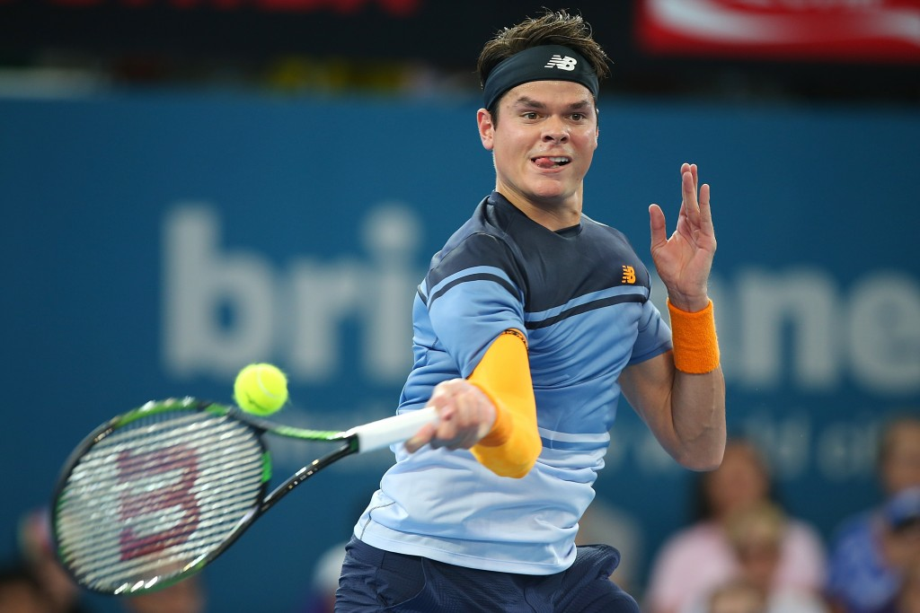 BRISBANE, AUSTRALIA - JANUARY 09:  Milos Raonic of Canada plays a forehand in his semi final match against Bernard Tomic of Australia during day seven of the 2016 Brisbane International at Pat Rafter Arena on January 9, 2016 in Brisbane, Australia.  (Photo by Chris Hyde/Getty Images)
