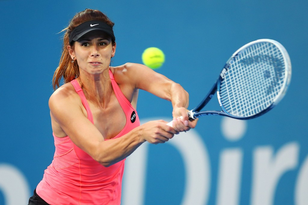 SYDNEY, AUSTRALIA - JANUARY 15:  Tsvetana Pironkova of Bulgaria plays a backhand in her semi final match against Petra Kvitova of the Czech Republic  during day five of the Sydney International at Sydney Olympic Park Tennis Centre on January 15, 2015 in Sydney, Australia.  (Photo by Brendon Thorne/Getty Images)