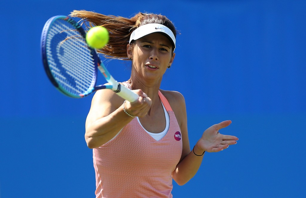 EASTBOURNE, ENGLAND - JUNE 25:  Tsvetana Pironkova of Bulgaria in action during her quarter final match against Agnieszka Radwanska of Poland on day five of the Aegon International at Devonshire Park on June 25, 2015 in Eastbourne, England.  (Photo by Ben Hoskins/Getty Images for LTA)