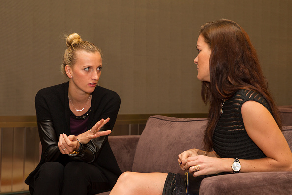 SHENZHEN, CHINA - JANUARY 04:  Petra Kvitova of Czech Republic and Agnieszka Radwanska of Poland at the Player's Party during Day 2 of 2016 WTA Shenzhen Open at Longgang Sports Center on January 4, 2016 in Shenzhen, China.  (Photo by Zhong Zhi/Getty Images)