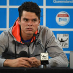 BRISBANE, AUSTRALIA - JANUARY 10:  Milos Raonic of Canada speaks during a press conference after winning the Mens Final against Roger Federer of Switzerland on day eight of the 2016 Brisbane International at Pat Rafter Arena on January 10, 2016 in Brisbane, Australia.  (Photo by Matt Roberts/Getty Images)