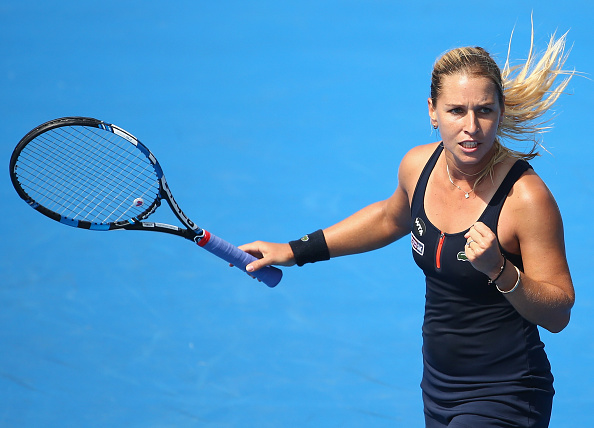 HOBART, AUSTRALIA - JANUARY 11:  Dominika Cibulkova of Slovakia celebrates a point in the women's single's match against Johanna Konta of Great Britain during day two of the 2016 Hobart International at the Domain Tennis Centre on January 11, 2016 in Hobart, Australia.  (Photo by Robert Cianflone/Getty Images)