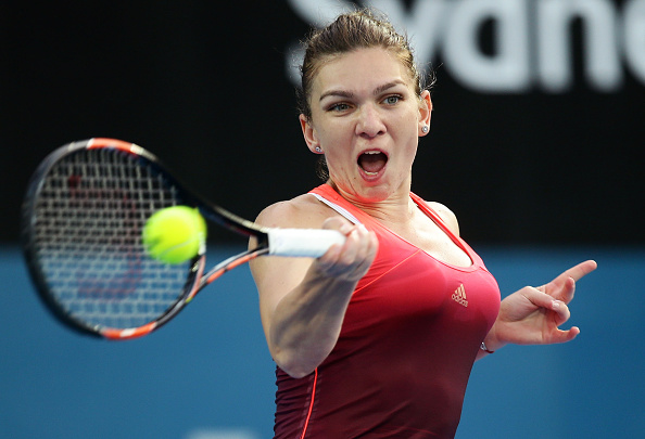 SYDNEY, AUSTRALIA - JANUARY 12:  Simona Halep of Romania plays a forehand in her match against Caroline Garcia of France during day three of the 2016 Sydney International at Sydney Olympic Park Tennis Centre on January 12, 2016 in Sydney, Australia.  (Photo by Matt King/Getty Images)