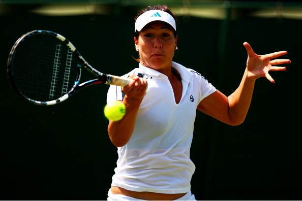 LONDON, ENGLAND - JUNE 19:  Elitsa Kostova of Bulgaria plays a forehand during the ladies' qualifying singles first round match against Annika Beck of Germany on day two of the Wimbledon Championships 2012 Qualifying at the Bank of England Sports Centre on June 19, 2012 in London, England.  (Photo by Dan Istitene/Getty Images)