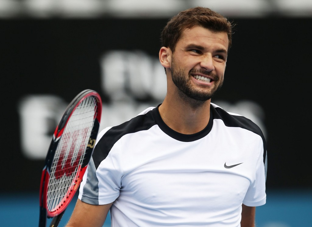 SYDNEY, AUSTRALIA - JANUARY 15:  Grigor Dimitrov of Bulgaria celebrates winning match point in his quarter final match against Alexandr Dolgopolov of Ukraine during day six of the 2016 Sydney International at Sydney Olympic Park Tennis Centre on January 15, 2016 in Sydney, Australia.  (Photo by Matt King/Getty Images)