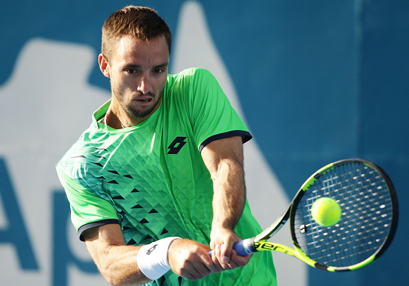 SYDNEY, AUSTRALIA - JANUARY 15:  Viktor Troicki of Serbia plays a backhand in his semi final match against Teymuraz Gabashvili of Russia during day six of the 2016 Sydney International at Sydney Olympic Park Tennis Centre on January 15, 2016 in Sydney, Australia.  (Photo by Matt King/Getty Images)