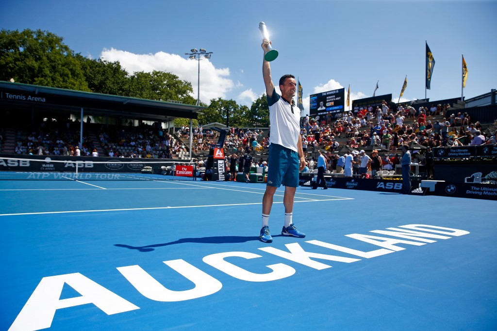 AUCKLAND, NEW ZEALAND - JANUARY 16:  Roberto Bautista Agut of Spain poses with the trophy following his singles final against Jack Sock of the USA on day six of the ASB Classic at the Stanley Street Tennis Centre on January 16, 2016 in Auckland, New Zealand.  (Photo by Phil Walter/Getty Images)