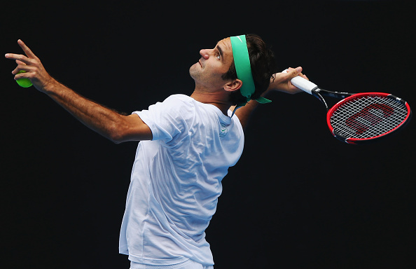MELBOURNE, AUSTRALIA - JANUARY 15:  Roger Federer of Switzerland serves during a practice session ahead of the 2016 Australian Open at Melbourne Park on January 15, 2016 in Melbourne, Australia.  (Photo by Michael Dodge/Getty Images)