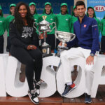 MELBOURNE, AUSTRALIA - JANUARY 15:  Serena Williams of the USA and Novak Djokovic of Serbia pose with the trophies during the 2016 Australian Open official draw at Melbourne Park on January 15, 2016 in Melbourne, Australia.  (Photo by Michael Dodge/Getty Images)