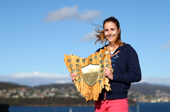 HOBART, AUSTRALIA - JANUARY 16:  Alizé Cornet of France poses with the winners trophy after defeating Eugenie Bouchard of Canada in the singles finals match during the 2016 Hobart International at the Domain Tennis Centre on January 16, 2016 in Hobart, Australia.  (Photo by Robert Cianflone/Getty Images)