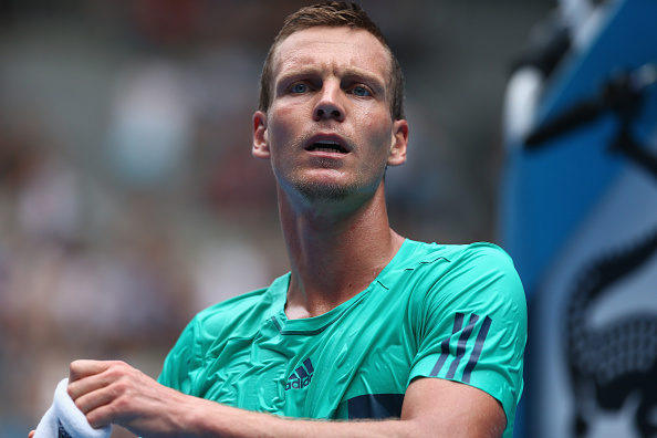 MELBOURNE, AUSTRALIA - JANUARY 20:  Tomas Berdych of Czech Republic reacts in his second round match against Mirza Basic of Bosnia and Herzegovina during day three of the 2016 Australian Open at Melbourne Park on January 20, 2016 in Melbourne, Australia.  (Photo by Ryan Pierse/Getty Images)