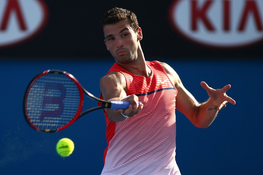 MELBOURNE, AUSTRALIA - JANUARY 18:  Grigor Dimitrov of Bulgaria plays a forehand in his first round match against Paolo Lorenzi of Italy during day one of the 2016 Australian Open at Melbourne Park on January 18, 2016 in Melbourne, Australia.  (Photo by Jack Thomas/Getty Images)