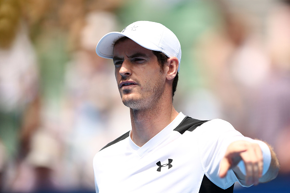 MELBOURNE, AUSTRALIA - JANUARY 21:  Andy Murray of Great Britain looks on ahead of his second round match against Sam Groth of Australia during day four of the 2016 Australian Open at Melbourne Park on January 21, 2016 in Melbourne, Australia.  (Photo by Cameron Spencer/Getty Images)