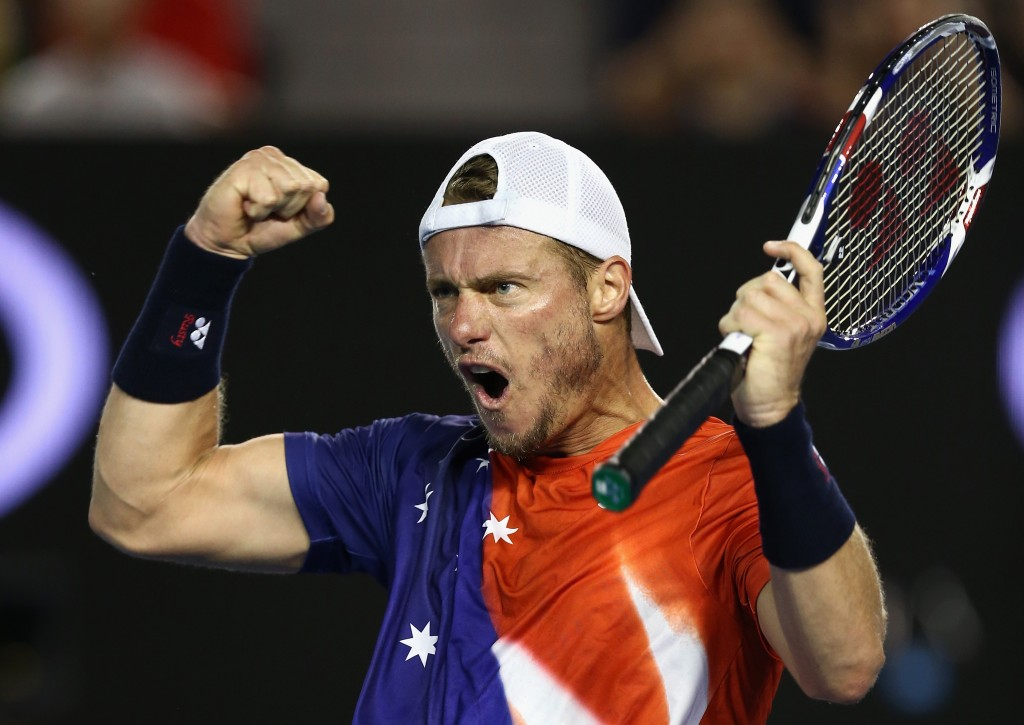 MELBOURNE, AUSTRALIA - JANUARY 21: Lleyton Hewitt of Australia celebrates a point in his second round match against David Ferrer of Spain during day four of the 2016 Australian Open at Melbourne Park on January 21, 2016 in Melbourne, Australia.  (Photo by Cameron Spencer/Getty Images)