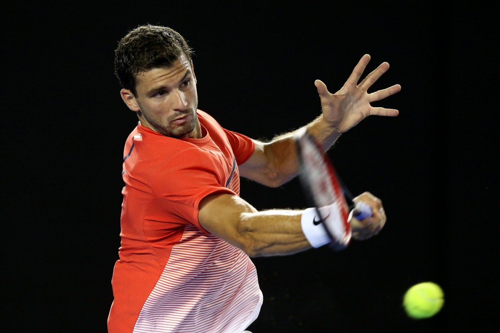 MELBOURNE, AUSTRALIA - JANUARY 22:  Grigor Dimitrov of Bulgaria plays a forehand in his third round match against Roger Federer of Switzerland during day five of the 2016 Australian Open at Melbourne Park on January 22, 2016 in Melbourne, Australia.  (Photo by Michael Dodge/Getty Images)