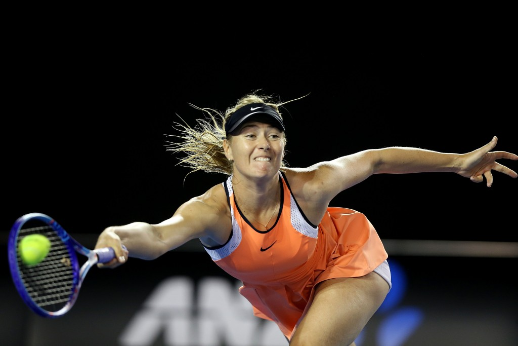 MELBOURNE, AUSTRALIA - JANUARY 22:  Maria Sharapova of Russia plays a forehand in her third round match against Lauren Davis of the United States during day five of the 2016 Australian Open at Melbourne Park on January 22, 2016 in Melbourne, Australia.  (Photo by Michael Dodge/Getty Images)