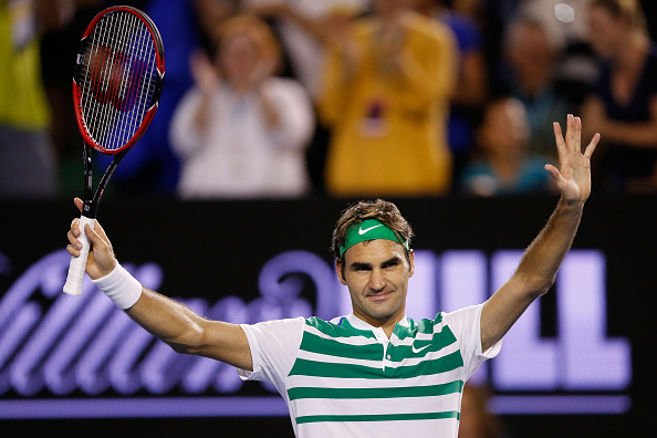 MELBOURNE, AUSTRALIA - JANUARY 22:  Roger Federer of Switzerland celebrates winning in his third round match against Grigor Dimitrov of Bulgaria during day five of the 2016 Australian Open at Melbourne Park on January 22, 2016 in Melbourne, Australia.  (Photo by Zak Kaczmarek/Getty Images)