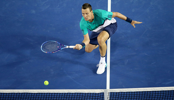 MELBOURNE, AUSTRALIA - JANUARY 22:  Tomas Berdych of Czech Republic during  his third round match against Nick Kyrgios of Australia  on day five of the 2016 Australian Open at Melbourne Park on January 22, 2016 in Melbourne, Australia.  (Photo by Pat Scala/Getty Images)