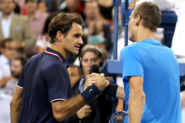 NEW YORK, NY - SEPTEMBER 05:  Tomas Berdych of the Czech Republic shakes hands with Roger Federer of Switzerland after their men's singles quarterfinal match against on Day Ten of the 2012 US Open at USTA Billie Jean King National Tennis Center on September 5, 2012 in the Flushing neighborhood of the Queens borough of New York City.  (Photo by Matthew Stockman/Getty Images)
