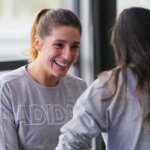 MELBOURNE, AUSTRALIA - JANUARY 14:  Andrea Petkovic of Germany (L) smiles during the adidas ACE Case Launch at Crown Entertainment Complex on January 14, 2016 in Melbourne, Australia.  (Photo by Graham Denholm/Getty Images for adidas)