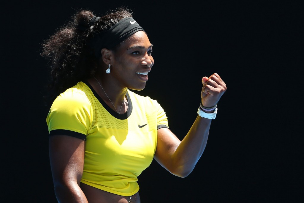 MELBOURNE, AUSTRALIA - JANUARY 24:  Serena Williams of the United States celebrates winning her fourth round match against Margarita Gaspatryan of Russia during day seven of the 2016 Australian Open at Melbourne Park on January 24, 2016 in Melbourne, Australia.  (Photo by Quinn Rooney/Getty Images)
