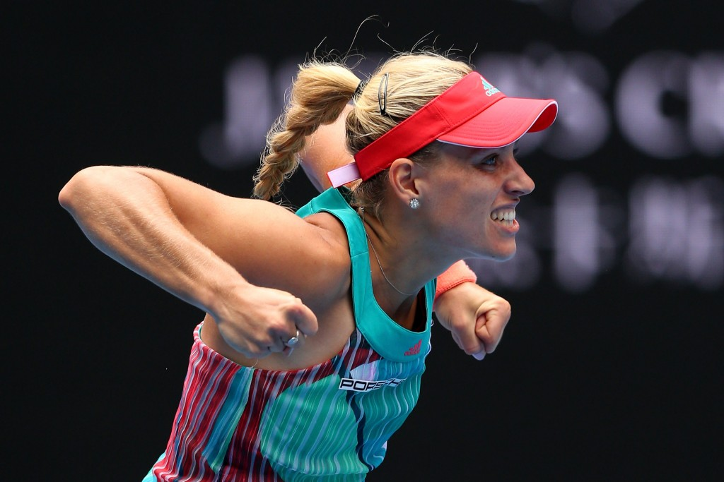 MELBOURNE, AUSTRALIA - JANUARY 27:  Angelique Kerber of Germany celebrates winning her quarter final match against Victoria Azarenka of Belarus during day 10 of the 2016 Australian Open at Melbourne Park on January 27, 2016 in Melbourne, Australia.  (Photo by Cameron Spencer/Getty Images)