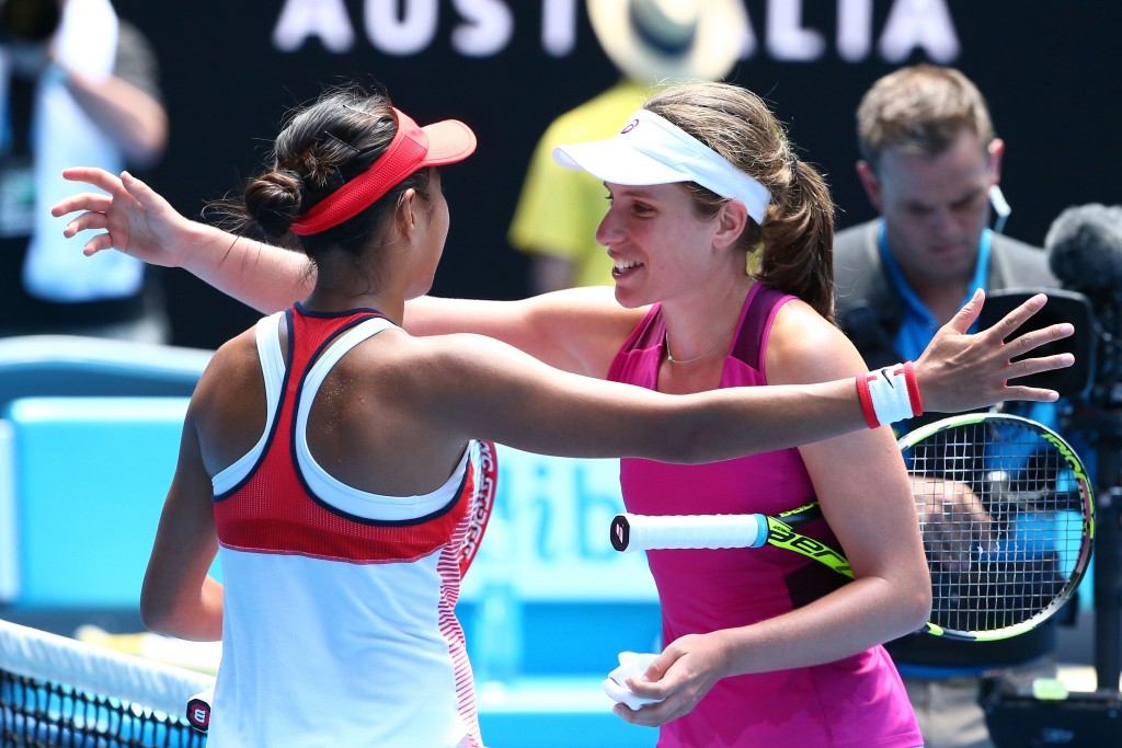 MELBOURNE, AUSTRALIA - JANUARY 27:  Shuai Zhang of China congratulates Johanna Konta of Great Britain on winning their quarter final match against during day 10 of the 2016 Australian Open at Melbourne Park on January 27, 2016 in Melbourne, Australia.  (Photo by Scott Barbour/Getty Images)