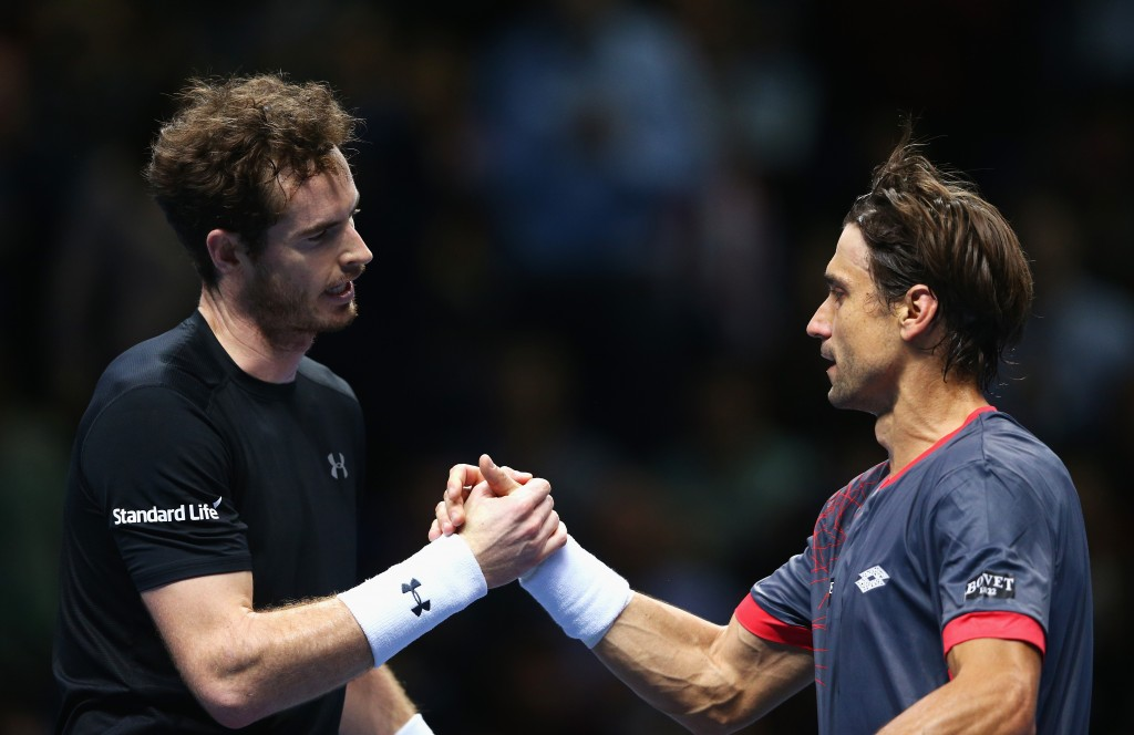 LONDON, ENGLAND - NOVEMBER 16:  Andy Murray of Great Britain shakes hands with David Ferrer of Spain after their men's singles match during day two of the Barclays ATP World Tour Finals at O2 Arena on November 16, 2015 in London, England.  (Photo by Clive Brunskill/Getty Images)