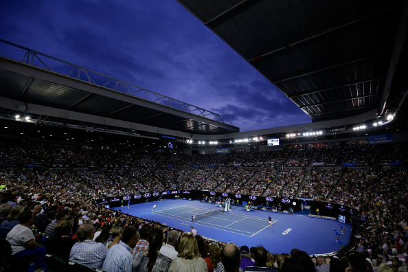 MELBOURNE, AUSTRALIA - JANUARY 28:  General view of Rod Laver Arena during the semi final match between Novak Djokovic of Serbia and Roger Federer of Switzerland on day 11 of the 2016 Australian Open at Melbourne Park on January 28, 2016 in Melbourne, Australia.  (Photo by Darrian Traynor/Getty Images)