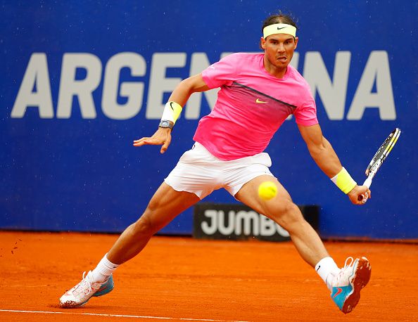 BUENOS AIRES, ARGENTINA - MARCH 01:  Rafael Nadal of Spain takes a forehand shot during a singles final match between Rafael Nadal of Spain and Juan Monaco of Argentina as part of ATP Argentina Open at Buenos Aires Lawn Tennis Club on March 01, 2015 in Buenos Aires, Argentina. (Photo by Gabriel Rossi/LatinContent/Getty Images)