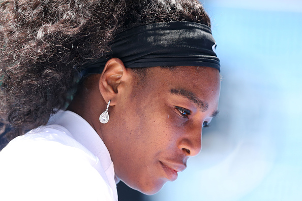 MELBOURNE, AUSTRALIA - JANUARY 26:  Serena Williams of the United States prepares for her quarter final match against Maria Sharapova of Russia during day nine of the 2016 Australian Open at Melbourne Park on January 26, 2016 in Melbourne, Australia.  (Photo by Michael Dodge/Getty Images)