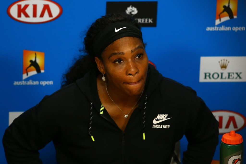 MELBOURNE, AUSTRALIA - JANUARY 30:  Australian Open runner-up Serena Williams of the United States speaks during a press conference after losing the  Women's Singles Final to Angelique Kerber of Germany on day 13 of the 2016 Australian Open at Melbourne Park on January 30, 2016 in Melbourne, Australia.  (Photo by Jack Thomas/Getty Images)