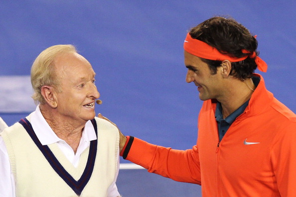 MELBOURNE, AUSTRALIA - JANUARY 08:  Roger Federer of Switzerland (R) and Australian tennis legend Rod Laver embrace during the Roger Federer Charity match at Melbourne Park on January 8, 2014 in Melbourne, Australia.  (Photo by Graham Denholm/Getty Images)