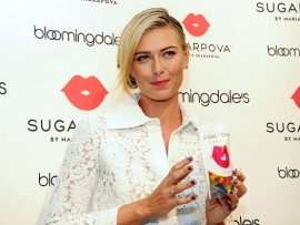 NEW YORK, NY - AUGUST 25:  Tennis player Maria Sharapova celebrates the new Sugarpova pop-up shop at Bloomingdale's on August 25, 2015 in New York City.  (Photo by Desiree Navarro/WireImage)