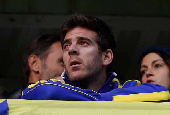 BUENOS AIRES, ARGENTINA - MAY 03:  Tennis player Juan Martin Del Potro looks on before a match between Boca Juniors and River Plate as part of 11th round of Torneo Primera Division 2015 at Alberto J. Armando Stadium on May 03, 2015 in Buenos Aires, Argentina. (Photo by Daniel Jayo/LatinContent/Getty Images)