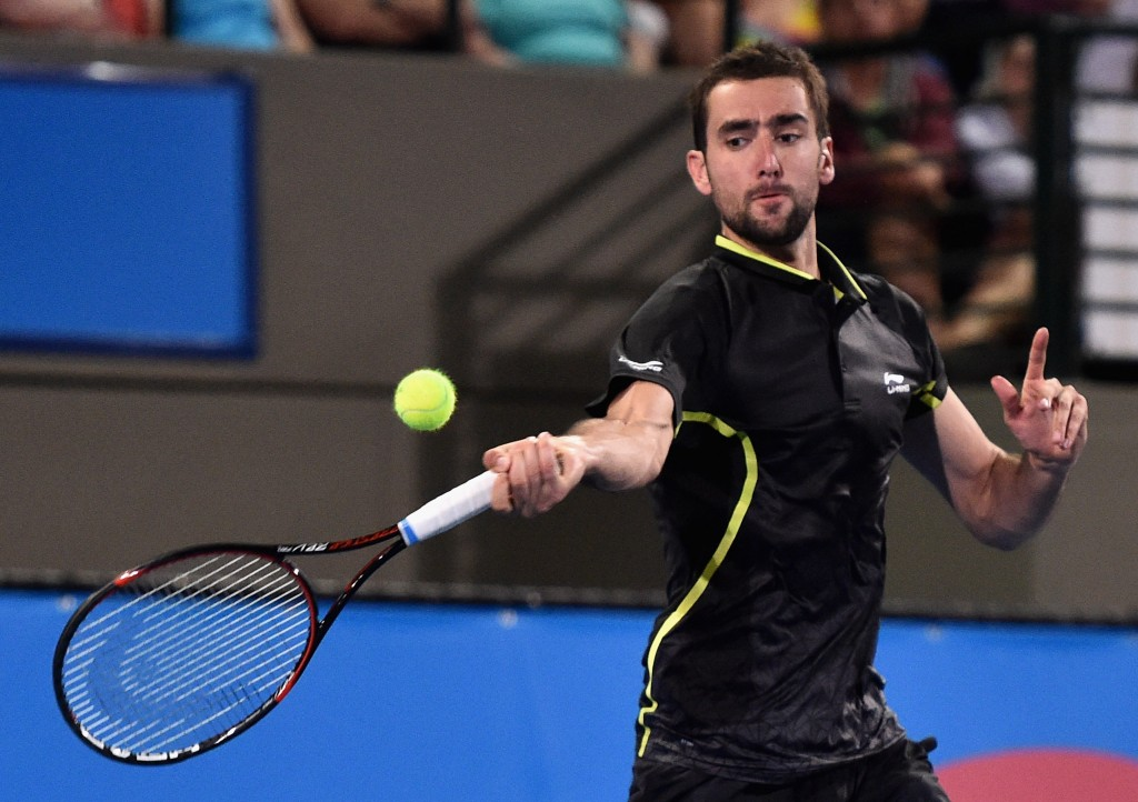 ADELAIDE, AUSTRALIA - JANUARY 13:  Marin Cilic of Croatia competes during the 2016 World Tennis Challenge match between Lleyton Hewitt of Australia and Marin Cilic of Croatia at Memorial Drive on January 13, 2016 in Adelaide, Australia.   (Photo by Daniel Kalisz/Getty Images)