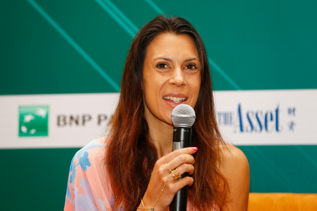 SINGAPORE - OCTOBER 27:  Marion Bartoli speaks at the BNP TB Conference during the BNP Paribas WTA Finals at The Fullerton Hotel on October 27, 2015 in Singapore.  (Photo by Julian Finney/Getty Images)